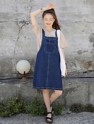 Femme Taille Normale Genou Jupes,Trapèze Couleur Pleine