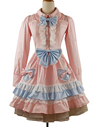 One-Piece/Dress Classic/Traditional Lolita Rococo Cosplay Lolita Dress Solid Long Sleeve Knee-length Dress Petticoat For Cotton