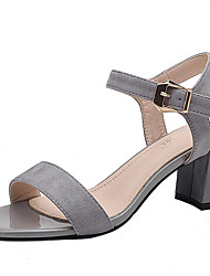 Women's Sandals Spring Summer Fall Club Shoes Comfort Fleece Office & Career Party & Evening Dress Chunky Heel Buckle Nude Gray Black