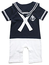 Short Sleeved Romper Navy Anchor Toddle Jumpsuits
