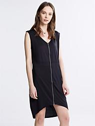 Moulante Robe Femme Soirée / Grandes Tailles Sexy,Couleur Pleine Col en V Asymétrique Sans Manches Rouge / Noir Polyester / Spandex Eté