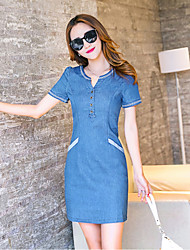 Women's Going out Holiday Simple A Line Dress,Solid V Neck Above Knee Short Sleeve Others Spring Summer High Rise Inelastic Thin