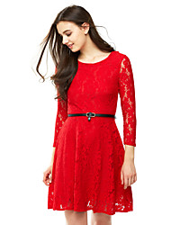 Women's Lace Going out Plus Size Street chic A Line Lace Dress,Solid Cut Out Pleated Round Neck Above Knee Long Sleeve PolyesterPink Red Black Green