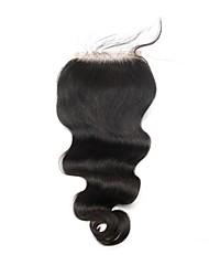 8-18 дюймов объемной волны малайзийских виргинских волос бесплатно / средний / три части закрытия кружева 4x4inches естественного цвета