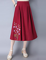 Women's Midi Skirts A Line Solid