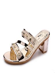 Damen-Sandalen-Kleid Lässig-PU-Blockabsatz-Fersenriemen-