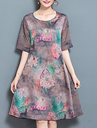 Women's Going out Casual/Daily Simple Loose Dress,Print Round Neck Knee-length Short Sleeve Silk Summer Fall Low Rise Inelastic Medium