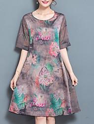 Feminino Solto Vestido,Para Noite Casual Simples Estampado Decote Redondo Altura dos Joelhos Manga Curta Seda Verão Outono Cintura Baixa
