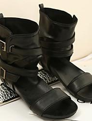 Women's Sandals Spring Summer Gladiator PU Casual Flat Heel Black