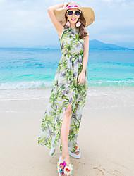 Damen Swing Kleid-Strand Blumen Rundhalsausschnitt Maxi Ärmellos Seide Sommer Mittlere Hüfthöhe Mikro-elastisch Dünn