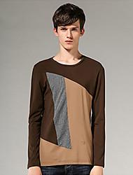 Tee-shirt Homme,Couleur Pleine Décontracté / Quotidien simple Manches Longues Col Arrondi Coton