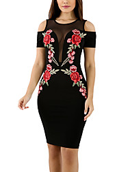 Women's Floral Patterns/Embroidery Party Club Holiday Sexy Vintage Street chic Bodycon Off Shoulder Mesh Dress Patchwork Round Neck Above Knee Summer