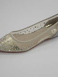 Women's Wedding Shoes Spring Fall Ballerina Glitter Tulle Wedding Office & Career Party & Evening Flat Heel Rhinestone Sequin Gold