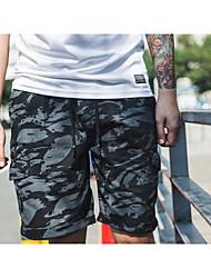 Masculino Simples Cintura Média Chinos Calças,Reto Camuflagem