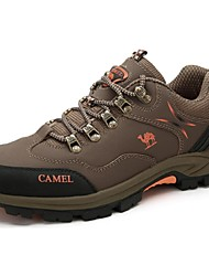 Hiking Shoes Camel Men's Outdoor Athletic Shoes Comfort Cow Leather  Lace-up Shoes Color Khaki/Gray