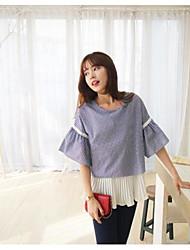 Damen Druck Einfach Lässig/Alltäglich T-shirt,Rundhalsausschnitt ½ Länge Ärmel Acryl