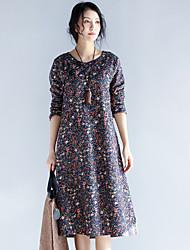 Tunique Robe Femme Décontracté / Quotidien simple,Géométrique Col Arrondi Midi Manches Longues Coton Eté Taille Normale Micro-élastique