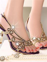 Women's Sandals Summer Club Shoes Nappa Leather Casual Stiletto Heel Rhinestone Purple Gold