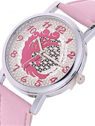 Mulheres Relógio de Moda Quartzo Couro Banda Preta Roxa