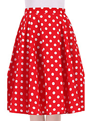 Women's Red White Polka Dot Going out Casual/Daily Knee-length Skirts Vintage Swing Dress All Seasons Mid Rise