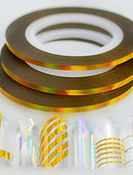 50pcs / box 2mm 20m моды ногтей лазера золота блеск фольги полоса ленты линии радуги сверкающий DIY красоты украшения