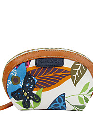 Kate&Co. new leather with fabric makeup bag hand bag TH-02112 flowers
