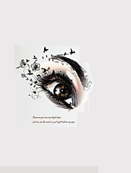 3D Big Eyes Butterfly Flowers Wall Stickers English Words Quote Wall Decals Home Decoration For Family Love