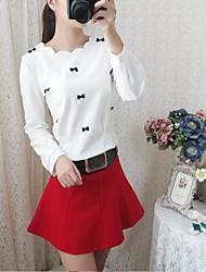Tee-shirt Femme,Imprimé Sortie simple Manches Longues Col Arrondi Coton