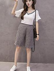 Mujer Sencillo Tiro Medio strenchy Chinos Pantalones,Corte Ancho Perneras anchas Un Color Escocés