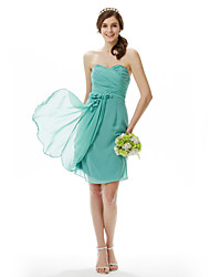 Sheath / Column Strapless Sweetheart Knee Length Chiffon Bridesmaid Dress with Flower(s) Side Draping Criss Cross by LAN TING BRIDE®
