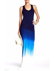 Mujer Vaina Vestido Fiesta/Cóctel Sexy,Un Color Arco iris Escote Redondo Maxi Sin Mangas Algodón Primavera Verano Tiro Medio Rígido Medio