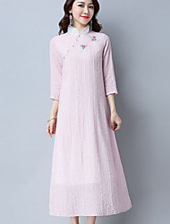 Women's Casual/Daily Vintage Simple A Line Loose Dress,Solid Embroidered Stand Midi ¾ Sleeve Cotton Linen Spring Summer Mid Rise Inelastic