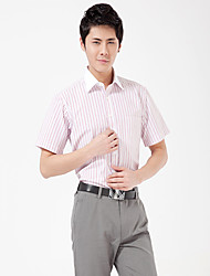 Men's Business  Red-White Striped Short Sleeve Shirt  DXBL002