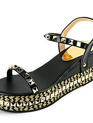 Women's Sandals Creepers Gladiator PU Spring Summer Casual Dress Creepers Gladiator Rivet Buckle Wedge Heel Gold Black 2in-2 3/4in
