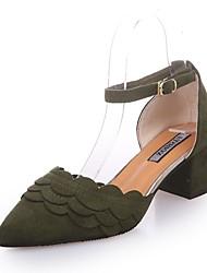 Feminino-Saltos-Sapatos clube Sapatos formais-Salto Grosso--Camurça-Ar-Livre Escritório & Trabalho Casual
