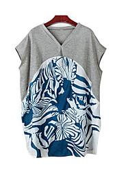 Damen Druck Einfach Lässig/Alltäglich T-shirt,Rundhalsausschnitt Sommer Kurzarm Kunstseide