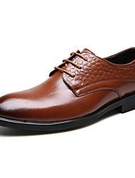 Masculino-Sapatos De Casamento-Sapatos formais Conforto-Rasteiro--Couro-Casamento Escritório & Trabalho Festas & Noite