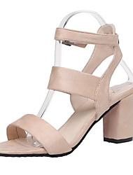 Women's Sandals Summer Gladiator Pigskin Outdoor Walking Block Heel Buckle Beige Black