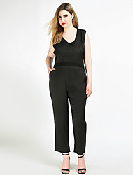 Really Love Women's High Rise Work Party Going out Casual/Daily Club Holiday Jumpsuits,Sexy Vintage Street chic Straight Lace Solid All Seasons