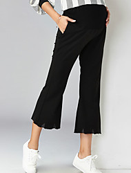 Expectant Mother's Pure Cotton And Comfortable Wavy Edge Flares Nine Points Elastic Abdominal Slacks