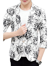 Men's Casual/Daily Work Simple Spring Fall BlazerFloral V Neck Regular Cotton Polyester k478-1