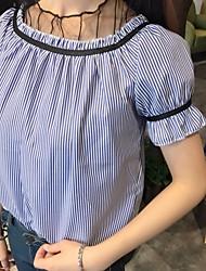 Tee-shirt Femme,Rayé Sortie Plage Mignon Eté Manches Courtes Bateau Coton Opaque