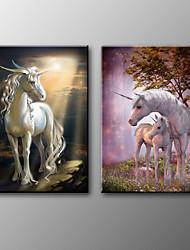 Canvas Print Animal Classic Unicorn Two Panels Canvas Horizontal Print Wall Decor For Home Decoration