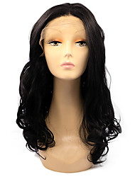 Black Color Lace Front Wig Syntehtic Body Wave Hair Heat Resistant Fiber Hair Wig