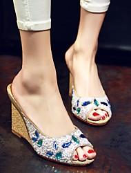 Women's Sandals Summer Comfort Microfibre Casual Wedge Heel Rhinestone Gold