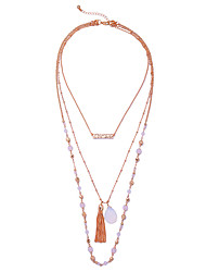 Women's Layered Necklaces Geometric Chrome Unique Design Tassels Euramerican Gold Jewelry For Casual Christmas Gifts 1pc