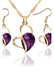 2017 Summer Fashion Charm Women Bride Jewelry Set Rhinestone Crystal Gem Water Drop Love Heart Earrings Necklace Sets Wedding Gift