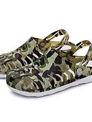 Homme Sandales Confort trou Chaussures Printemps Gomme Décontracté Vert Véronèse Bleu clair Écran couleur Plat