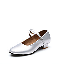 Modern Customizable Kids Girl Dance Shoes for Latin/Salsa with Chunky Heel in Silver/Gold/