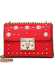 Women Bags All Seasons PU Shoulder Bag with Pearl Rivet for Wedding Event/Party Casual Sports Formal Outdoor Office & Career Black Red
